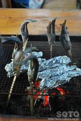 鱒の炭焼き