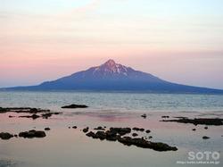 礼文島から見た利尻富士(夕)