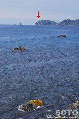 遠くに見える神威岬