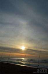 朝日と逆さ虹?